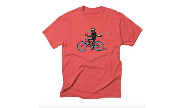 Ninja on blue bike!